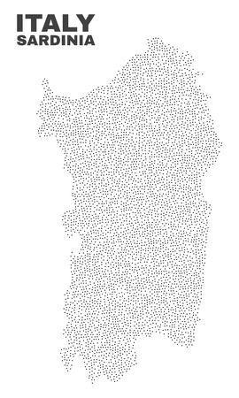 Sardinia map designed with little points. Vector abstraction in black color is isolated on a white background. Scattered little points are organized into Sardinia map.