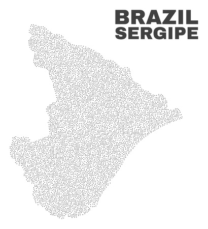 Sergipe State map designed with tiny points. Vector abstraction in black color is isolated on a white background. Random small points are organized into Sergipe State map.