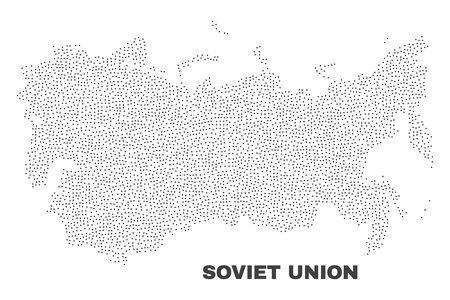 Soviet Union map designed with tiny points. Vector abstraction in black color is isolated on a white background. Scattered tiny points are organized into Soviet Union map.