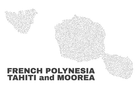 Tahiti and Moorea islands map designed with small points. Vector abstraction in black color is isolated on a white background. Random small points are organized into Tahiti and Moorea islands map.