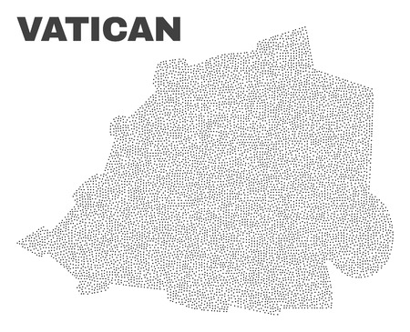 Vatican map designed with small points. Vector abstraction in black color is isolated on a white background. Scattered tiny points are organized into Vatican map. 向量圖像