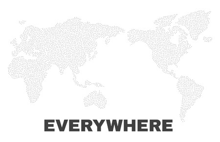 World map designed with tiny points. Vector abstraction in black color is isolated on a white background. Random tiny points are organized into world map. Illustration