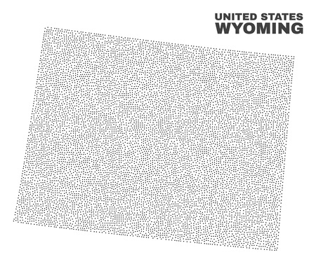 Wyoming State map designed with little dots. Vector abstraction in black color is isolated on a white background. Scattered little elements are organized into Wyoming State map.