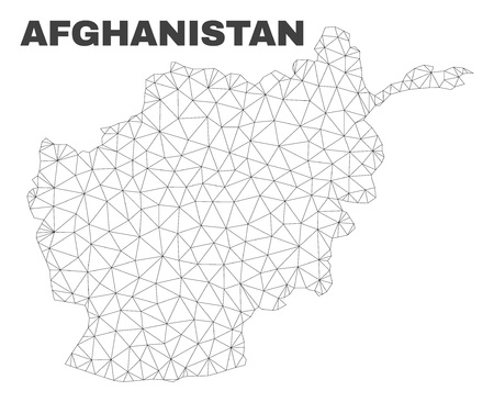 Abstract Afghanistan map isolated on a white background. Triangular mesh model in black color of Afghanistan map. Polygonal geographic scheme designed for political illustrations.