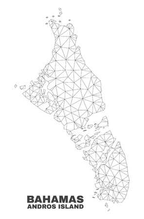 Abstract Andros Island of Bahamas map isolated on a white background. Triangular mesh model in black color of Andros Island of Bahamas map.