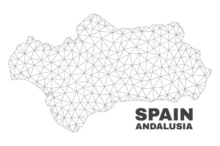 Abstract Andalusia Province map isolated on a white background. Triangular mesh model in black color of Andalusia Province map. Polygonal geographic scheme designed for political illustrations.