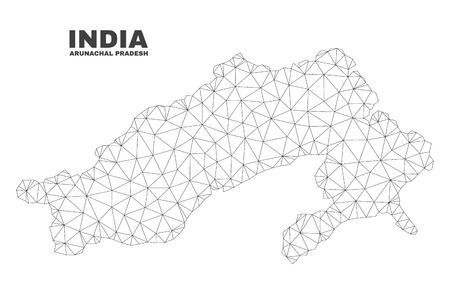 Abstract Arunachal Pradesh State map isolated on a white background. Triangular mesh model in black color of Arunachal Pradesh State map.