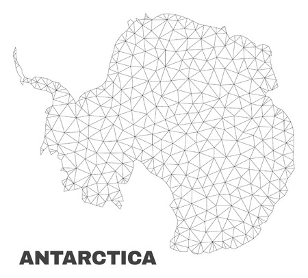 Abstract Antarctica continent map isolated on a white background. Triangular mesh model in black color of Antarctica continent map. Polygonal geographic scheme designed for political illustrations.