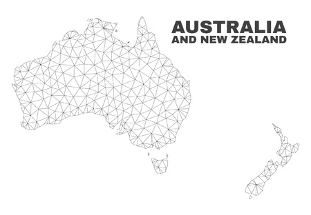 Abstract Australia and New Zealand map isolated on a white background. Triangular mesh model in black color of Australia and New Zealand map.