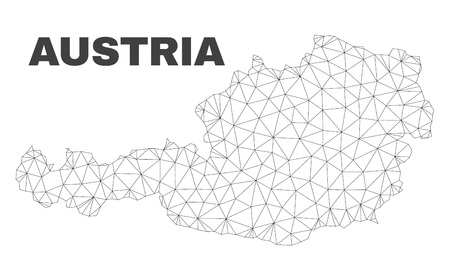 Abstract Austria map isolated on a white background. Triangular mesh model in black color of Austria map. Polygonal geographic scheme designed for political illustrations.