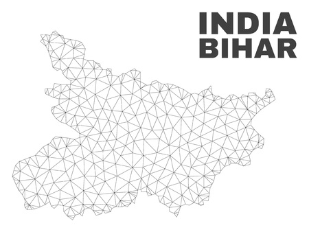 Abstract Bihar State map isolated on a white background. Triangular mesh model in black color of Bihar State map. Polygonal geographic scheme designed for political illustrations.