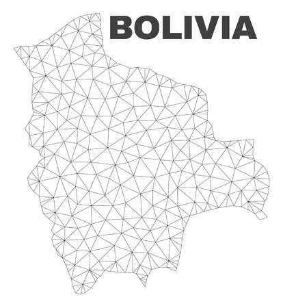 Abstract Bolivia map isolated on a white background. Triangular mesh model in black color of Bolivia map. Polygonal geographic scheme designed for political illustrations.  イラスト・ベクター素材