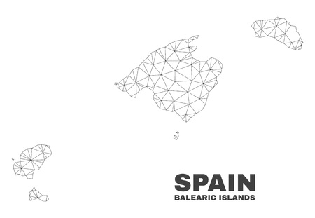 Abstract Balearic Islands map isolated on a white background. Triangular mesh model in black color of Balearic Islands map. Polygonal geographic scheme designed for political illustrations.