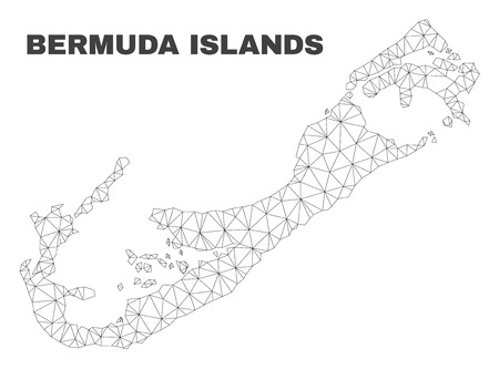 Abstract Bermuda Islands map isolated on a white background. Triangular mesh model in black color of Bermuda Islands map. Polygonal geographic scheme designed for political illustrations.