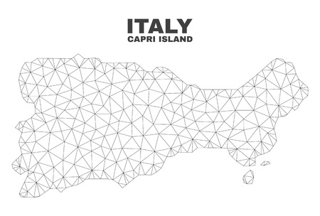 Abstract Capri Island map isolated on a white background. Triangular mesh model in black color of Capri Island map. Polygonal geographic scheme designed for political illustrations.