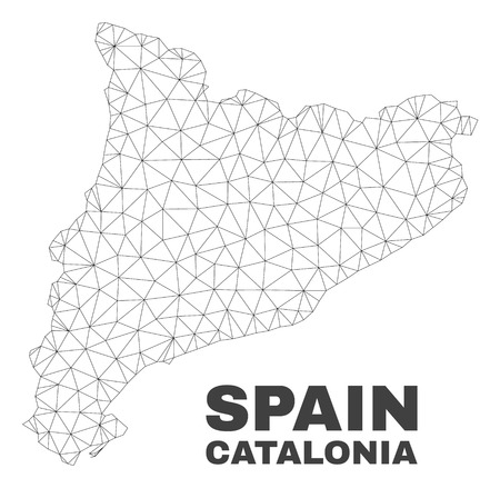 Abstract Catalonia map isolated on a white background. Triangular mesh model in black color of Catalonia map. Polygonal geographic scheme designed for political illustrations. Illustration