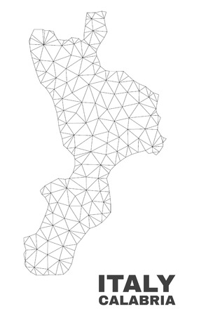 Abstract Calabria region map isolated on a white background. Triangular mesh model in black color of Calabria region map. Polygonal geographic scheme designed for political illustrations.