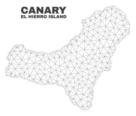 Abstract El Hierro Island map isolated on a white background. Triangular mesh model in black color of El Hierro Island map. Polygonal geographic scheme designed for political illustrations.