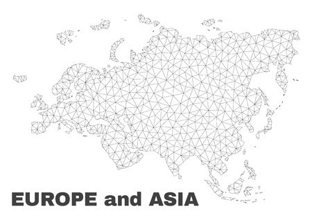 Abstract Europe and Asia map isolated on a white background. Triangular mesh model in black color of Europe and Asia map. Polygonal geographic scheme designed for political illustrations.