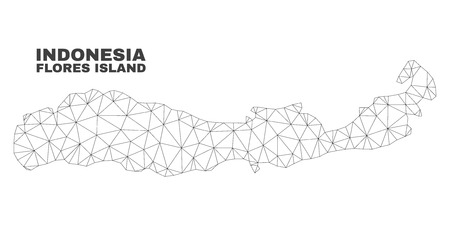 Abstract Flores Island of Indonesia map isolated on a white background. Triangular mesh model in black color of Flores Island of Indonesia map.