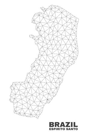 Abstract Espirito Santo State map isolated on a white background. Triangular mesh model in black color of Espirito Santo State map. Polygonal geographic scheme designed for political illustrations.