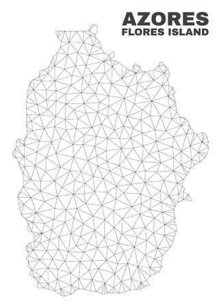 Abstract Flores Island of Azores map isolated on a white background. Triangular mesh model in black color of Flores Island of Azores map. 向量圖像