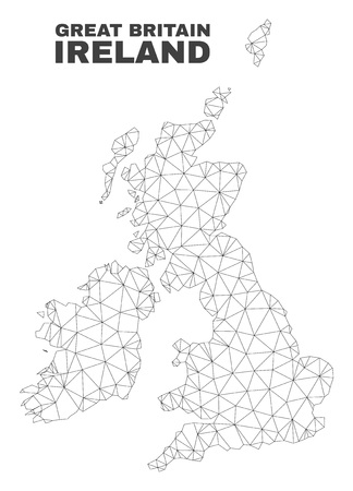 Abstract Great Britain and Ireland map isolated on a white background. Triangular mesh model in black color of Great Britain and Ireland map.