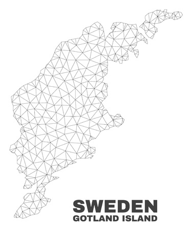 Abstract Gotland Island map isolated on a white background. Triangular mesh model in black color of Gotland Island map. Polygonal geographic scheme designed for political illustrations. Illustration