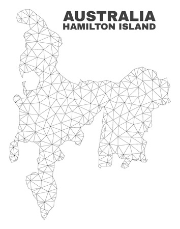 Abstract Hamilton Island map isolated on a white background. Triangular mesh model in black color of Hamilton Island map. Polygonal geographic scheme designed for political illustrations.