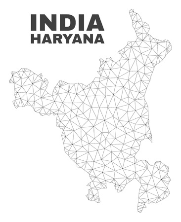 Abstract Haryana State map isolated on a white background. Triangular mesh model in black color of Haryana State map. Polygonal geographic scheme designed for political illustrations.