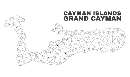 Abstract Grand Cayman Island map isolated on a white background. Triangular mesh model in black color of Grand Cayman Island map. Polygonal geographic scheme designed for political illustrations. Illustration