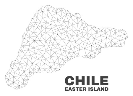 Abstract Easter Island map isolated on a white background. Triangular mesh model in black color of Easter Island map. Polygonal geographic scheme designed for political illustrations.