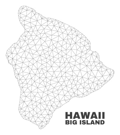 Abstract Hawaii Big Island map isolated on a white background. Triangular mesh model in black color of Hawaii Big Island map. Polygonal geographic scheme designed for political illustrations.