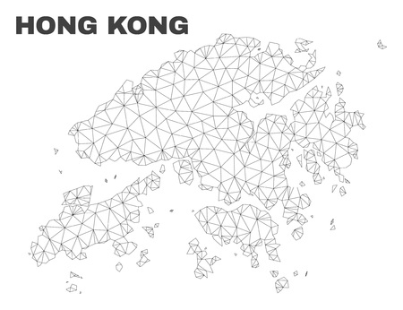 Abstract Hong Kong map isolated on a white background. Triangular mesh model in black color of Hong Kong map. Polygonal geographic scheme designed for political illustrations.