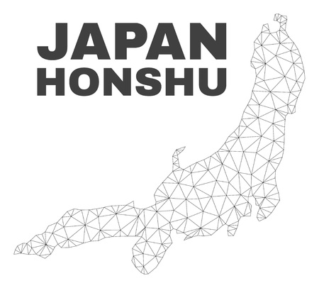Abstract Honshu Island map isolated on a white background. Triangular mesh model in black color of Honshu Island map. Polygonal geographic scheme designed for political illustrations.