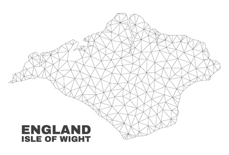 Abstract Isle of Wight map isolated on a white background. Triangular mesh model in black color of Isle of Wight map. Polygonal geographic scheme designed for political illustrations.