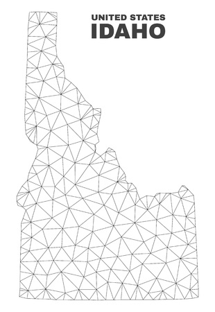 Abstract Idaho State map isolated on a white background. Triangular mesh model in black color of Idaho State map. Polygonal geographic scheme designed for political illustrations.  イラスト・ベクター素材