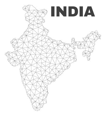 Abstract India map isolated on a white background. Triangular mesh model in black color of India map. Polygonal geographic scheme designed for political illustrations.