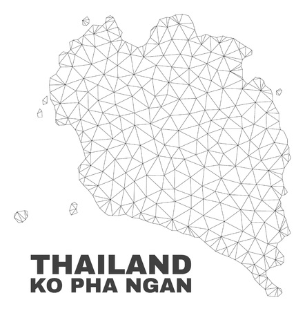 Abstract Ko Pha Ngan map isolated on a white background. Triangular mesh model in black color of Ko Pha Ngan map. Polygonal geographic scheme designed for political illustrations. Illustration