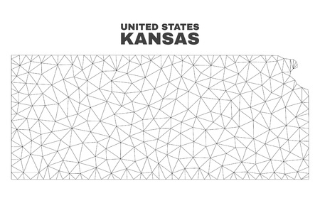Abstract Kansas State map isolated on a white background. Triangular mesh model in black color of Kansas State map. Polygonal geographic scheme designed for political illustrations. Illusztráció