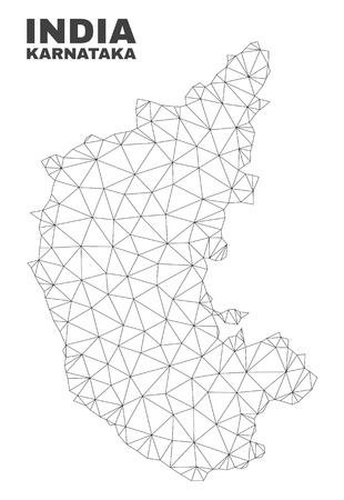 Abstract Karnataka State map isolated on a white background. Triangular mesh model in black color of Karnataka State map. Polygonal geographic scheme designed for political illustrations.