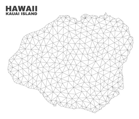 Abstract Kauai Island map isolated on a white background. Triangular mesh model in black color of Kauai Island map. Polygonal geographic scheme designed for political illustrations.