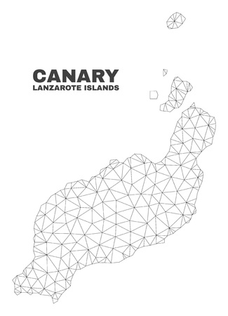 Abstract Lanzarote Islands map isolated on a white background. Triangular mesh model in black color of Lanzarote Islands map. Polygonal geographic scheme designed for political illustrations. Vettoriali