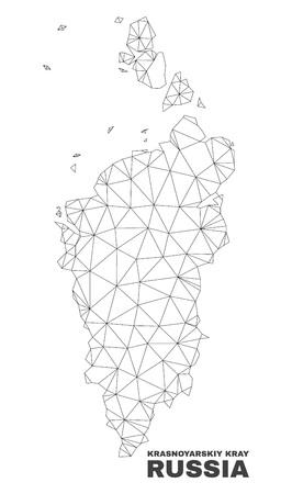 Abstract Krasnoyarskiy Kray map isolated on a white background. Triangular mesh model in black color of Krasnoyarskiy Kray map. Polygonal geographic scheme designed for political illustrations.