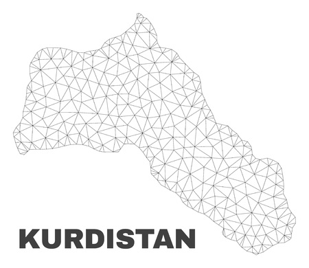 Abstract Kurdistan map isolated on a white background. Triangular mesh model in black color of Kurdistan map. Polygonal geographic scheme designed for political illustrations.