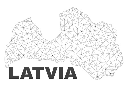 Abstract Latvia map isolated on a white background. Triangular mesh model in black color of Latvia map. Polygonal geographic scheme designed for political illustrations. Vectores