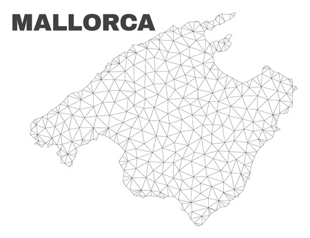 Abstract Mallorca map isolated on a white background. Triangular mesh model in black color of Mallorca map. Polygonal geographic scheme designed for political illustrations.