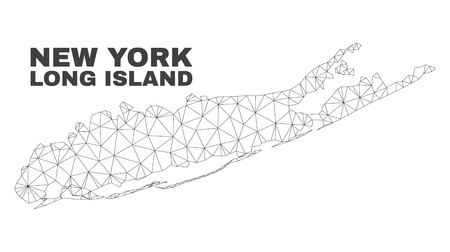 Abstract Long Island map isolated on a white background. Triangular mesh model in black color of Long Island map. Polygonal geographic scheme designed for political illustrations.