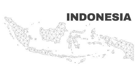 Abstract Indonesia map isolated on a white background. Triangular mesh model in black color of Indonesia map. Polygonal geographic scheme designed for political illustrations.