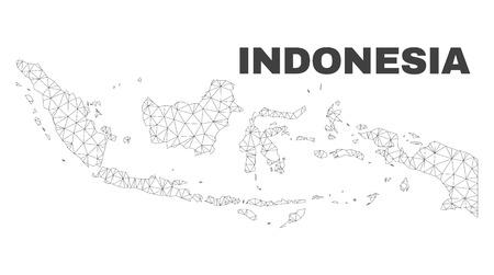 Streszczenie mapa Indonezja na białym tle na białym tle. Trójkątny model siatki w czarnym kolorze mapy Indonezji. Wielokątny schemat geograficzny przeznaczony do ilustracji politycznych. Ilustracje wektorowe
